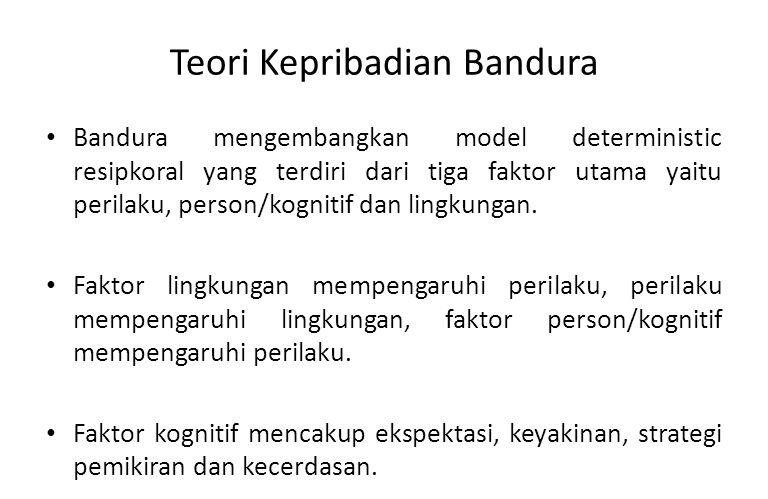 Teori Kepribadian Bandura Teori belajar sosial (social learning theory) dari Bandura, didasarkan pada konsep saling menentukan (reciprocal determinism), tanpa penguatan (beyond reinforcement), dan pengaturan diri/berfikir (sel- regulation/cognition).