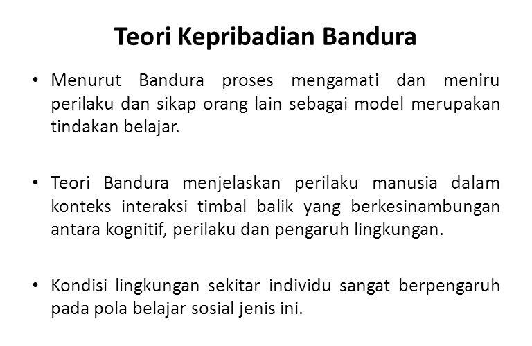 Teori Kepribadian Bandura Menurut Bandura proses mengamati dan meniru perilaku dan sikap orang lain sebagai model merupakan tindakan belajar. Teori Ba