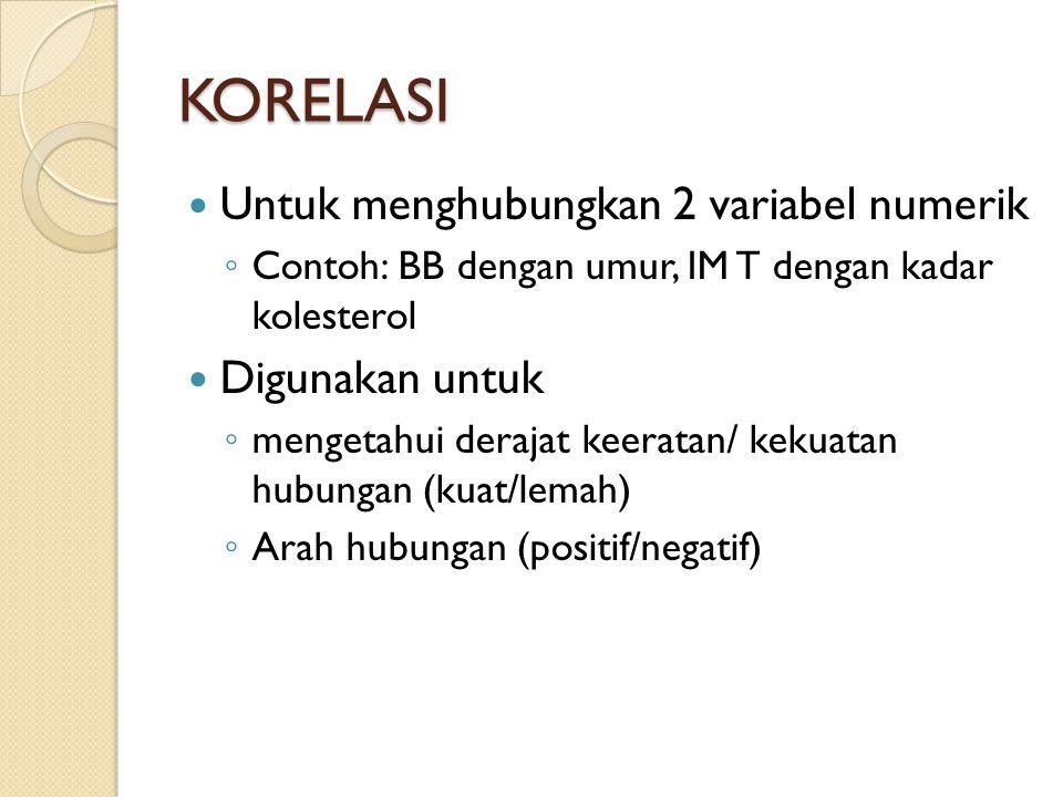 KORELASI Untuk menghubungkan 2 variabel numerik ◦ Contoh: BB dengan umur, IM T dengan kadar kolesterol Digunakan untuk ◦ mengetahui derajat keeratan/ kekuatan hubungan (kuat/lemah) ◦ Arah hubungan (positif/negatif)