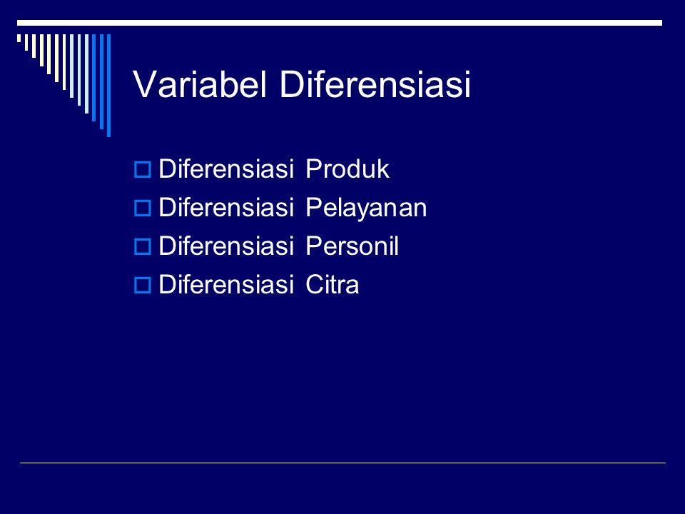Variabel Diferensiasi  Diferensiasi Produk  Diferensiasi Pelayanan  Diferensiasi Personil  Diferensiasi Citra