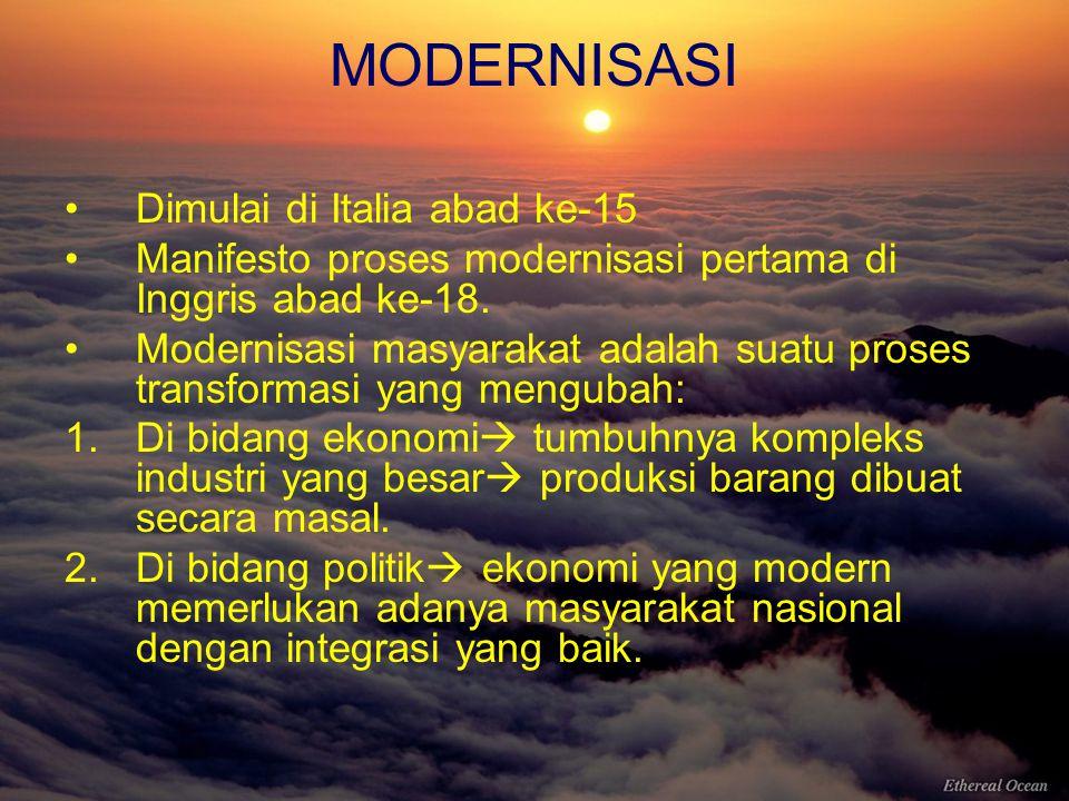 MODERNISASI Dimulai di Italia abad ke-15 Manifesto proses modernisasi pertama di Inggris abad ke-18. Modernisasi masyarakat adalah suatu proses transf