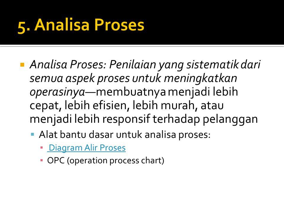  Analisa Proses: Penilaian yang sistematik dari semua aspek proses untuk meningkatkan operasinya—membuatnya menjadi lebih cepat, lebih efisien, lebih