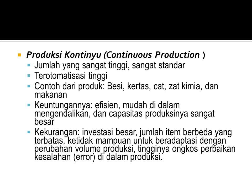  Produksi Kontinyu (Continuous Production )  Jumlah yang sangat tinggi, sangat standar  Terotomatisasi tinggi  Contoh dari produk: Besi, kertas, c