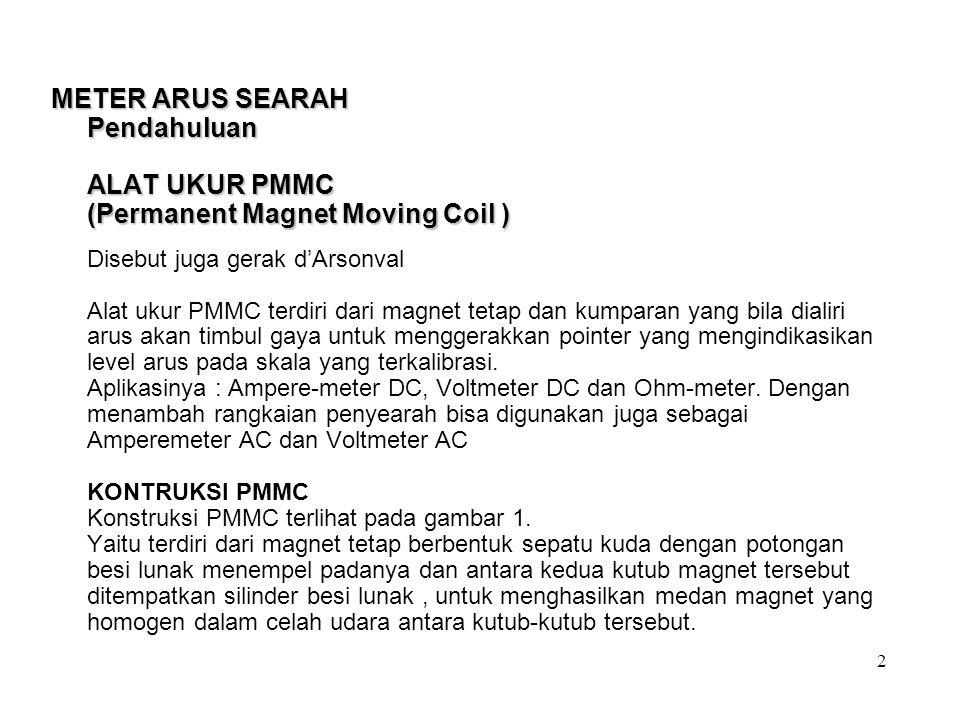 METER ARUS SEARAH Pendahuluan ALAT UKUR PMMC (Permanent Magnet Moving Coil ) METER ARUS SEARAH Pendahuluan ALAT UKUR PMMC (Permanent Magnet Moving Coi