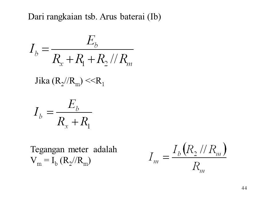 44 Dari rangkaian tsb. Arus baterai (Ib) Jika (R 2 //R m ) <<R 1 Tegangan meter adalah V m = I b (R 2 //R m )