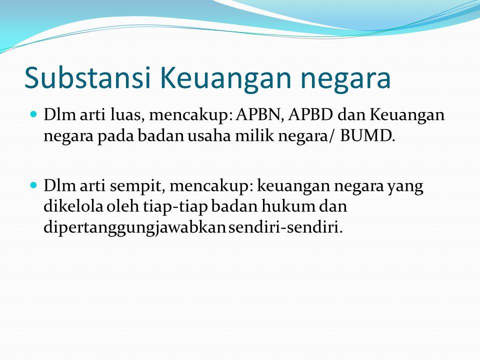 Substansi Keuangan negara Dlm arti luas, mencakup: APBN, APBD dan Keuangan negara pada badan usaha milik negara/ BUMD.