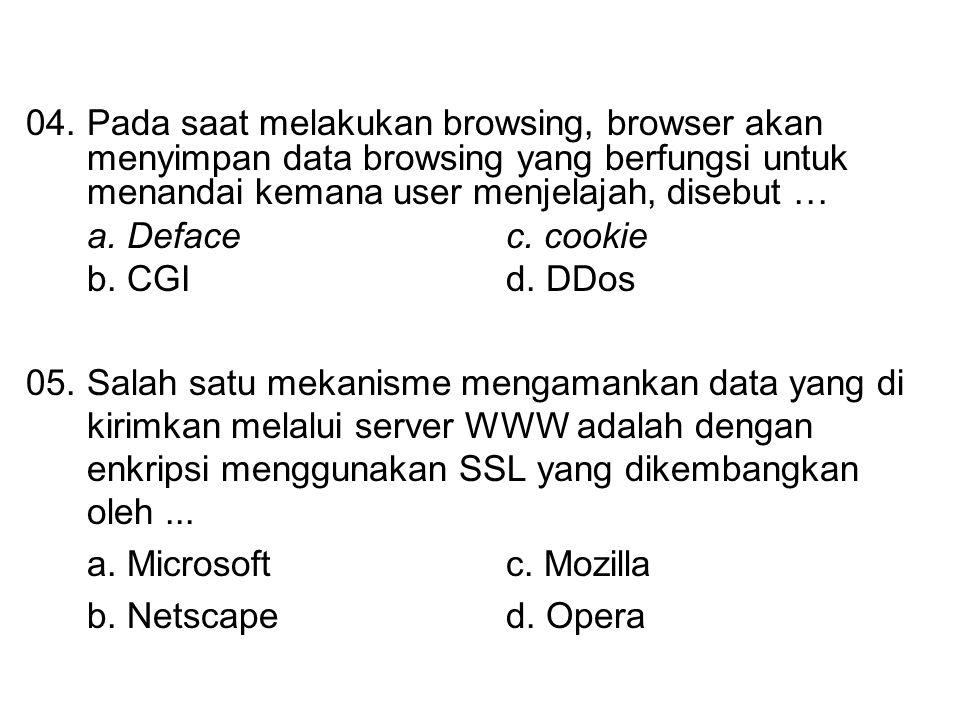 04.Pada saat melakukan browsing, browser akan menyimpan data browsing yang berfungsi untuk menandai kemana user menjelajah, disebut … a. Defacec. cook