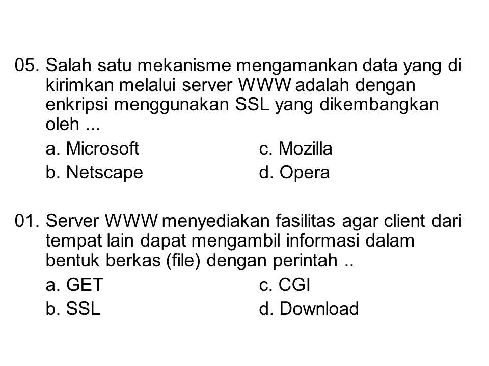 05.Salah satu mekanisme mengamankan data yang di kirimkan melalui server WWW adalah dengan enkripsi menggunakan SSL yang dikembangkan oleh... a. Micro