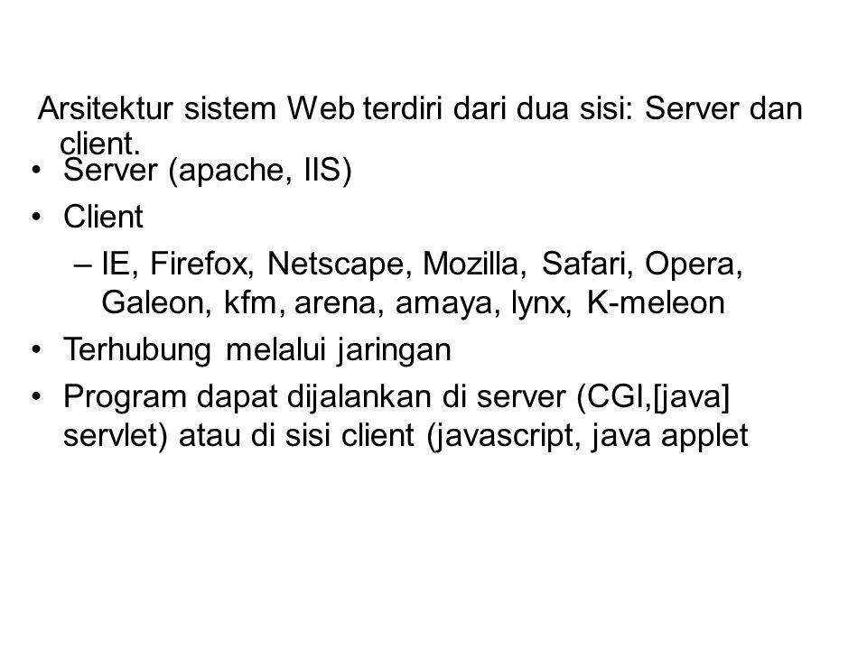 Arsitektur sistem Web terdiri dari dua sisi: Server dan client. Server (apache, IIS) Client –IE, Firefox, Netscape, Mozilla, Safari, Opera, Galeon, kf