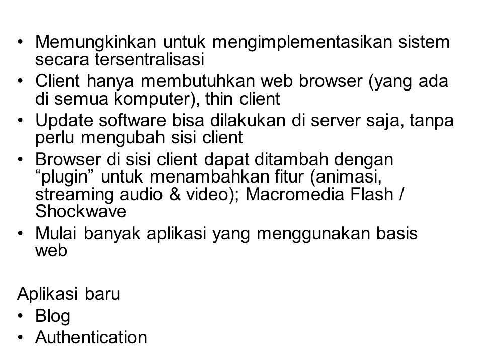 Lubang Keamanan CGI Beberapa contoh : CGI dipasang oleh orang yang tidak berhak CGI dijalankan berulang-ulang untuk menghabiskan resources (CPU, disk): DoS Masalah setuid CGI di sistem UNIX, dimana CGI dijalankan oleh userid web server Penyisipan karakter khusus untuk shell expansion Kelemahan ASP di sistem Windows Guestbook abuse dengan informasi sampah (pornografi) Akses ke database melalui perintah SQL (SQL injection)
