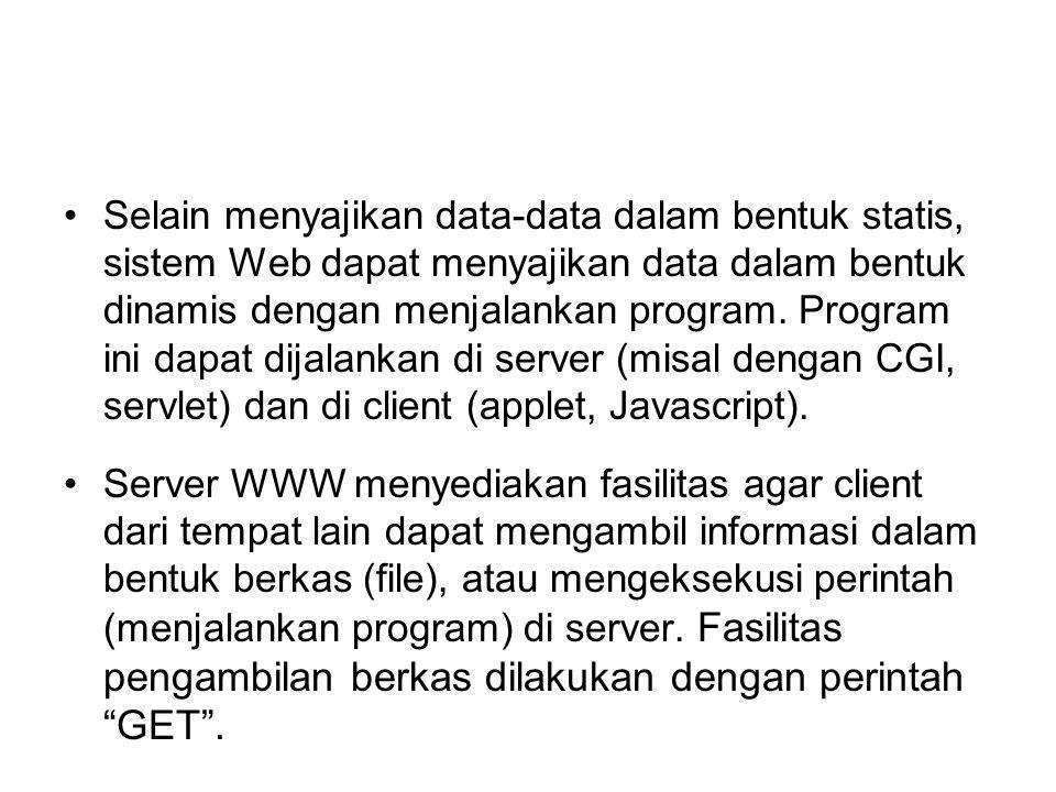 Selain menyajikan data-data dalam bentuk statis, sistem Web dapat menyajikan data dalam bentuk dinamis dengan menjalankan program. Program ini dapat d