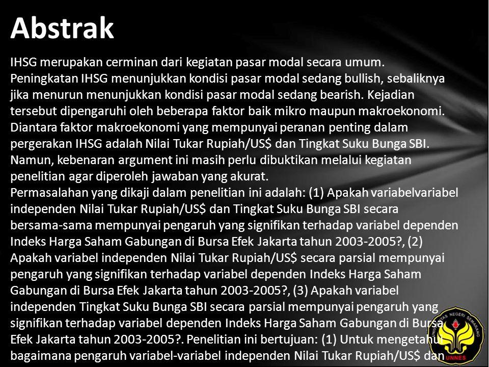 Kata Kunci Nilai Tukar Rupiah/US$, Tingkat Suku Bunga SBI, Indeks Harga Saham Gabungan