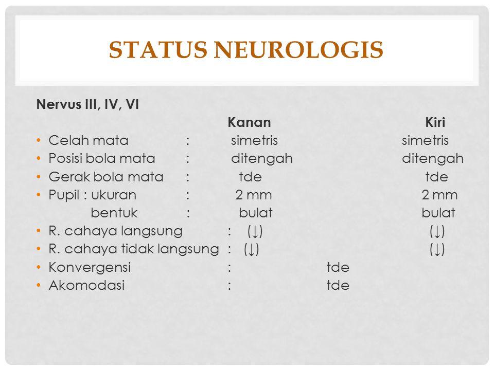STATUS NEUROLOGIS Nervus III, IV, VI KananKiri Celah mata : simetris simetris Posisi bola mata : ditengah ditengah Gerak bola mata : tdetde Pupil : uk