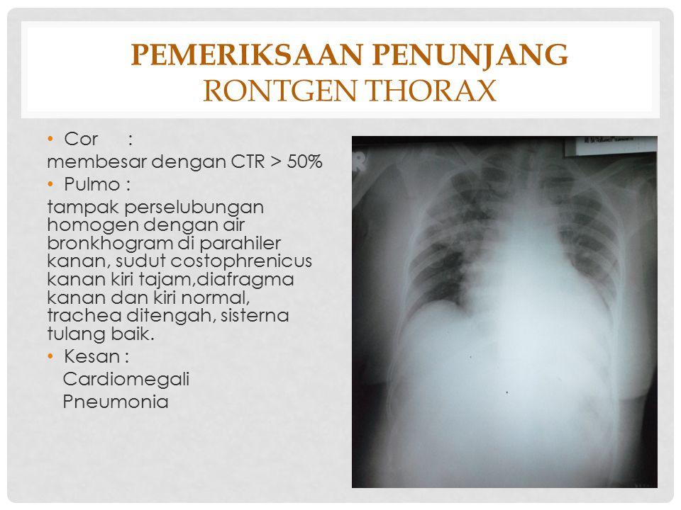 PEMERIKSAAN PENUNJANG RONTGEN THORAX Cor : membesar dengan CTR > 50% Pulmo : tampak perselubungan homogen dengan air bronkhogram di parahiler kanan, s