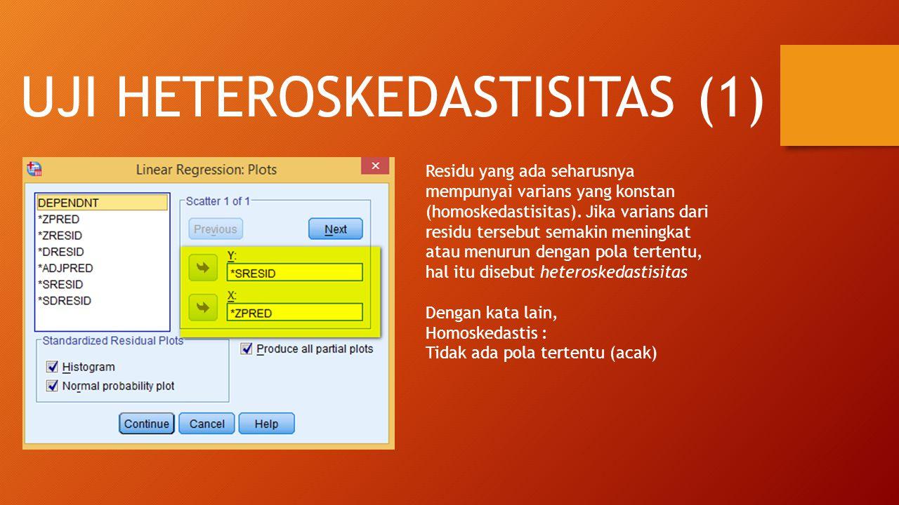 UJI HETEROSKEDASTISITAS (1) Residu yang ada seharusnya mempunyai varians yang konstan (homoskedastisitas).