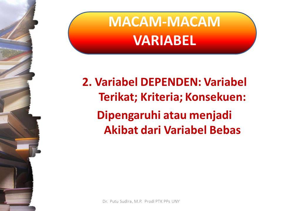 MACAM-MACAM VARIABEL Dr.Putu Sudira, M.P. Prodi PTK PPs UNY 3.
