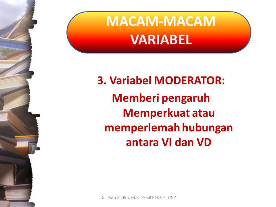 MACAM-MACAM VARIABEL Dr.Putu Sudira, M.P. Prodi PTK PPs UNY 4.