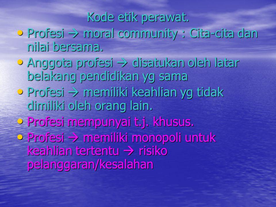 Kode etik perawat. Profesi  moral community : Cita-cita dan nilai bersama. Profesi  moral community : Cita-cita dan nilai bersama. Anggota profesi 