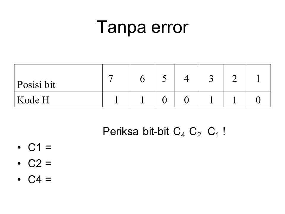 Tanpa error Posisi bit 7654321 Kode H 1100110 Periksa bit-bit C 4 C 2 C 1 ! C1 = C2 = C4 =