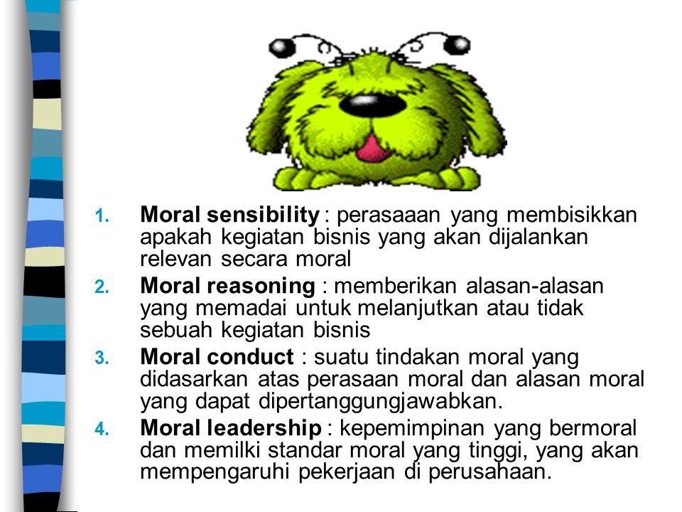 1. Moral sensibility : perasaaan yang membisikkan apakah kegiatan bisnis yang akan dijalankan relevan secara moral 2. Moral reasoning : memberikan ala