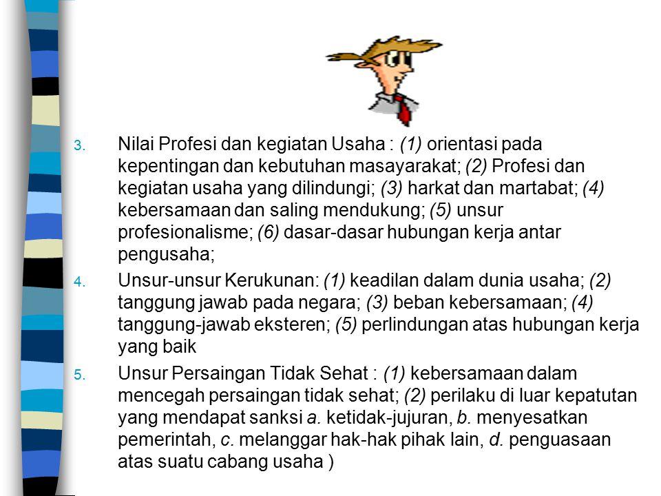 3. Nilai Profesi dan kegiatan Usaha : (1) orientasi pada kepentingan dan kebutuhan masayarakat; (2) Profesi dan kegiatan usaha yang dilindungi; (3) ha