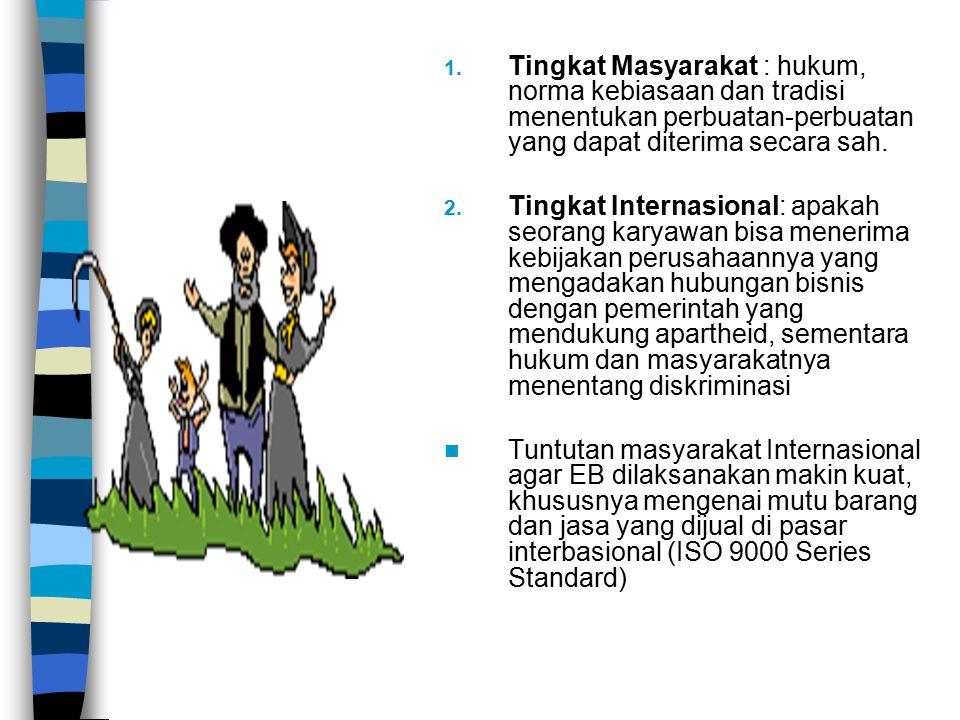 1. Tingkat Masyarakat : hukum, norma kebiasaan dan tradisi menentukan perbuatan-perbuatan yang dapat diterima secara sah. 2. Tingkat Internasional: ap