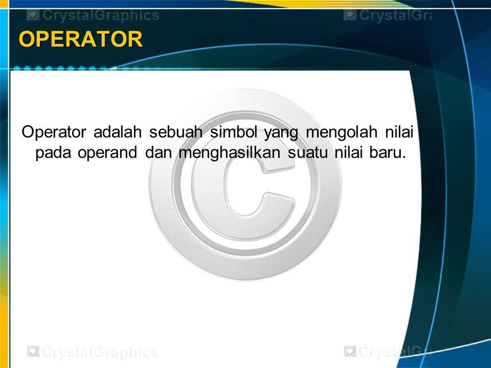 Jenis Operator : Jenis Operator : 1.