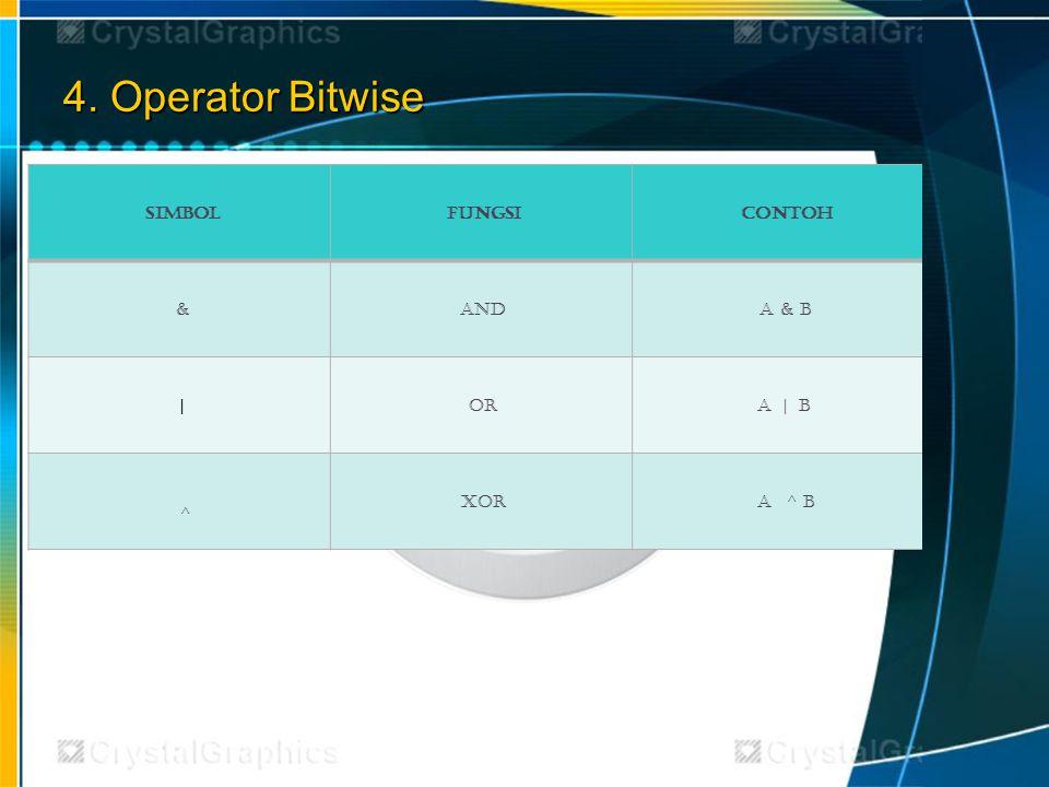 4. Operator Bitwise SimbolFungsiContoh &AndA & B |OrA | B ^ XORA ^ B