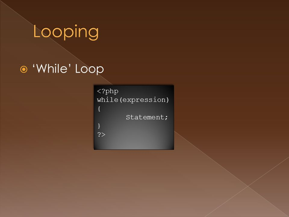  'While' Loop <?php while(expression) { Statement; } ?> <?php while(expression) { Statement; } ?>