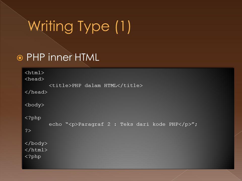  HTML inner PHP <?php echo ; echo HTML dalam PHP ; echo ; echo Paragraf 2 : Teks dari kode PHP ; echo ; ?> <?php echo ; echo HTML dalam PHP ; echo ; echo Paragraf 2 : Teks dari kode PHP ; echo ; ?>