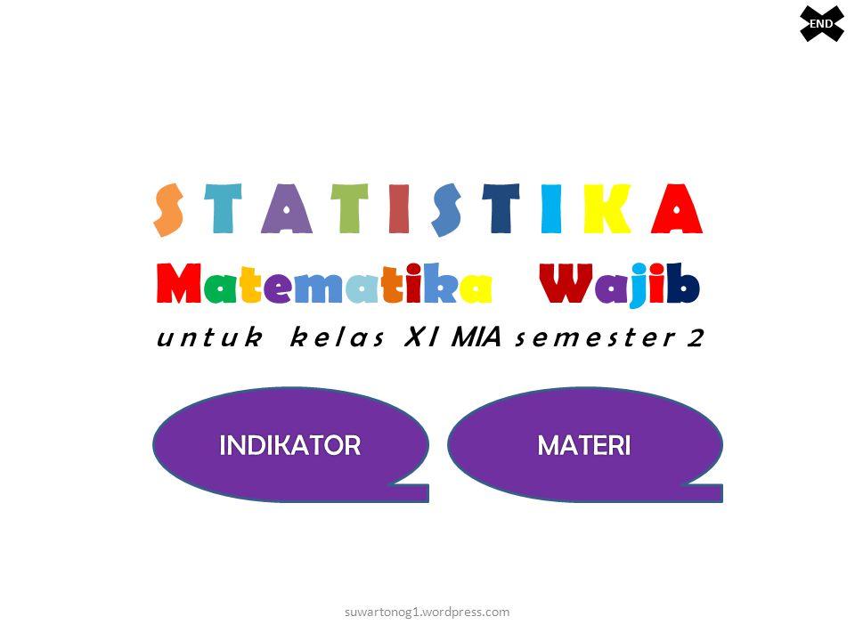 S T A T I S T I K A Matematika Wajib u n t u k k e l a s X I MIA s e m e s t e r 2 suwartonog1.wordpress.com END