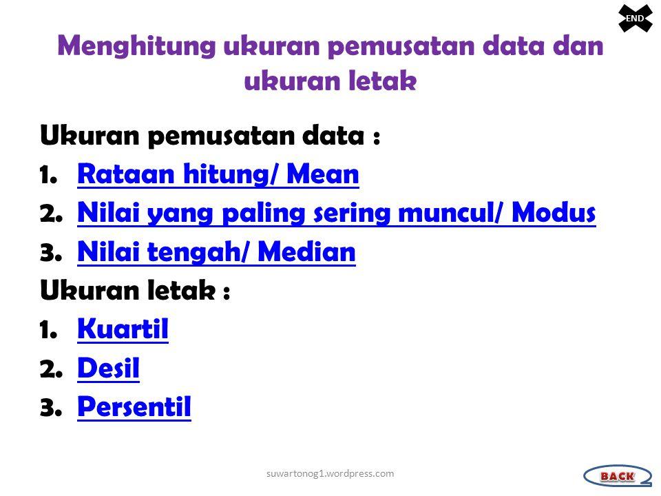 Menghitung ukuran pemusatan data dan ukuran letak Ukuran pemusatan data : 1.Rataan hitung/ MeanRataan hitung/ Mean 2.Nilai yang paling sering muncul/ ModusNilai yang paling sering muncul/ Modus 3.Nilai tengah/ MedianNilai tengah/ Median Ukuran letak : 1.KuartilKuartil 2.DesilDesil 3.PersentilPersentil suwartonog1.wordpress.com END