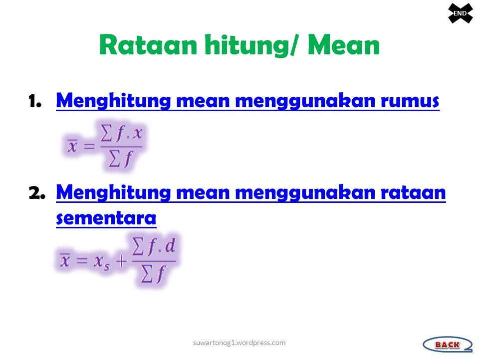 Rataan hitung/ Mean 1.Menghitung mean menggunakan rumusMenghitung mean menggunakan rumus 2.Menghitung mean menggunakan rataan sementaraMenghitung mean menggunakan rataan sementara suwartonog1.wordpress.com END