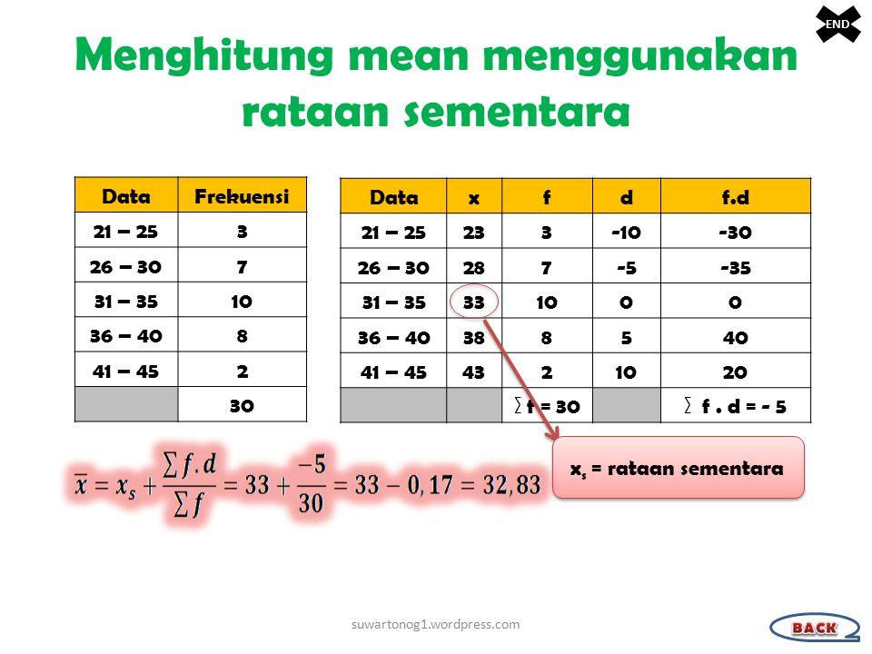 Menghitung mean menggunakan rataan sementara DataFrekuensi 21 – 253 26 – 307 31 – 3510 36 – 408 41 – 452 30 Dataxfdf.d 21 – 25233-10-30 26 – 30287-5-5-35 31 – 35331000 36 – 40388540 41 – 454321020 ∑ f = 30∑ f.