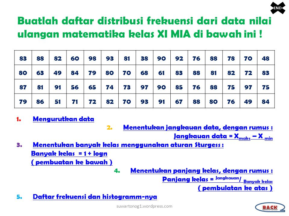Buatlah daftar distribusi frekuensi dari data nilai ulangan matematika kelas XI MIA di bawah ini .