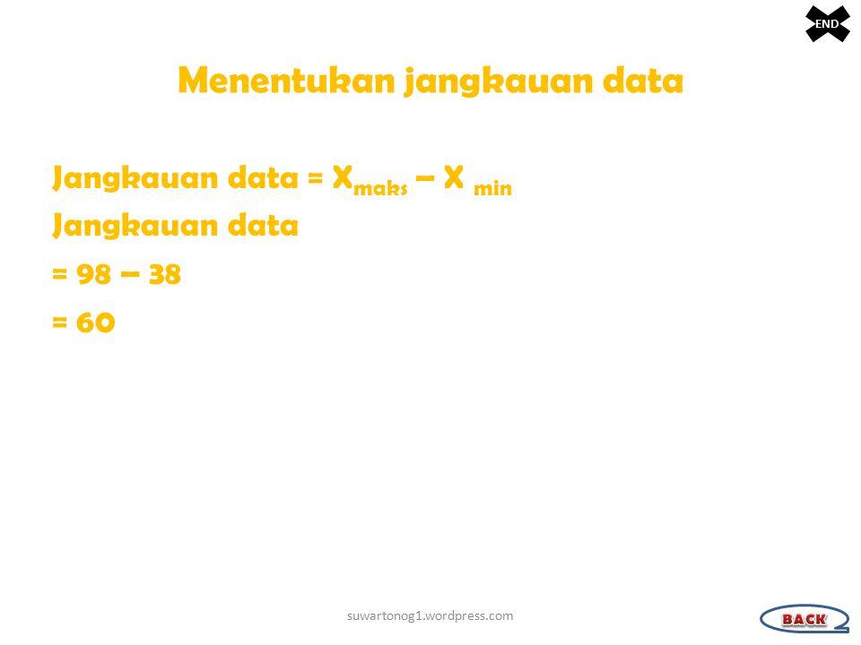 Menentukan jangkauan data Jangkauan data = X maks – X min Jangkauan data = 98 – 38 = 60 suwartonog1.wordpress.com END