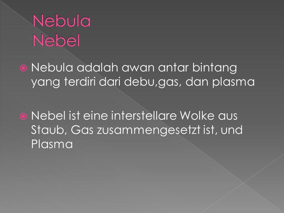  Nebula adalah awan antar bintang yang terdiri dari debu,gas, dan plasma  Nebel ist eine interstellare Wolke aus Staub, Gas zusammengesetzt ist, und