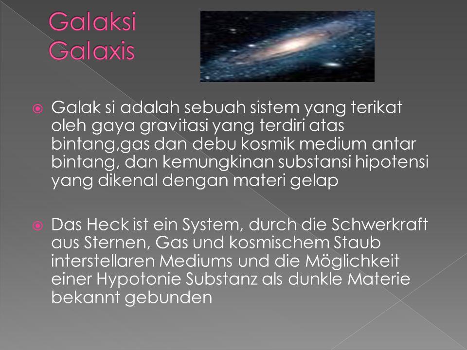  Galak si adalah sebuah sistem yang terikat oleh gaya gravitasi yang terdiri atas bintang,gas dan debu kosmik medium antar bintang, dan kemungkinan s