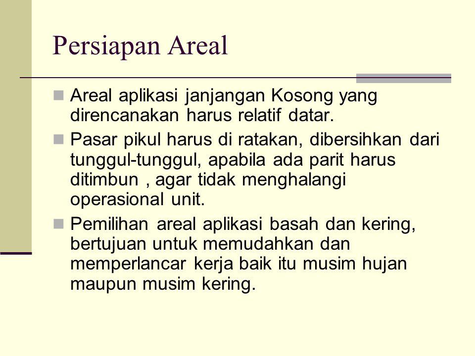 Persiapan Areal Areal aplikasi janjangan Kosong yang direncanakan harus relatif datar. Pasar pikul harus di ratakan, dibersihkan dari tunggul-tunggul,