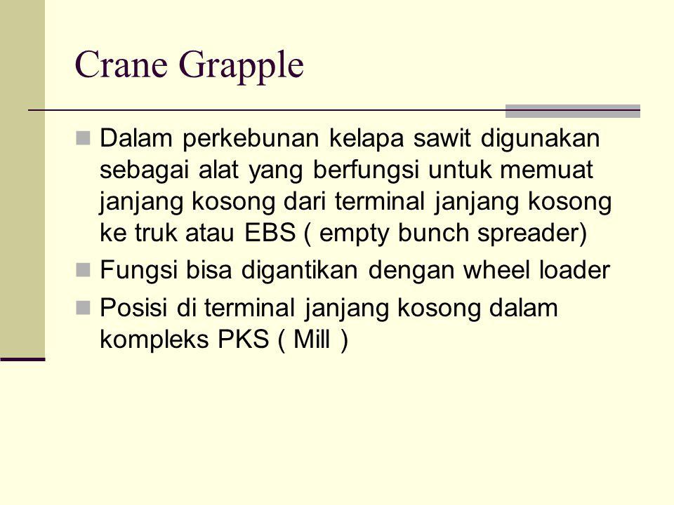 Crane Grapple Dalam perkebunan kelapa sawit digunakan sebagai alat yang berfungsi untuk memuat janjang kosong dari terminal janjang kosong ke truk ata