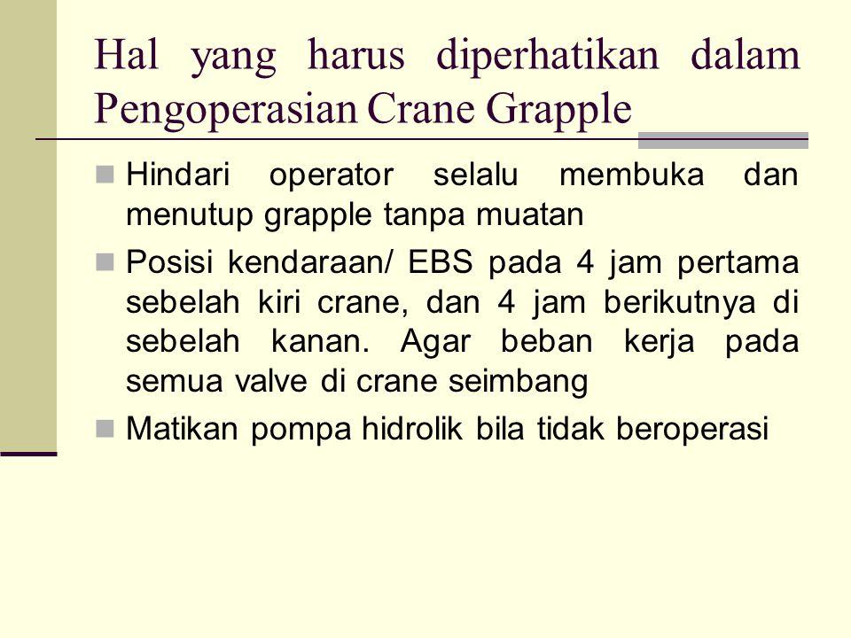 Hal yang harus diperhatikan dalam Pengoperasian Crane Grapple Hindari operator selalu membuka dan menutup grapple tanpa muatan Posisi kendaraan/ EBS p