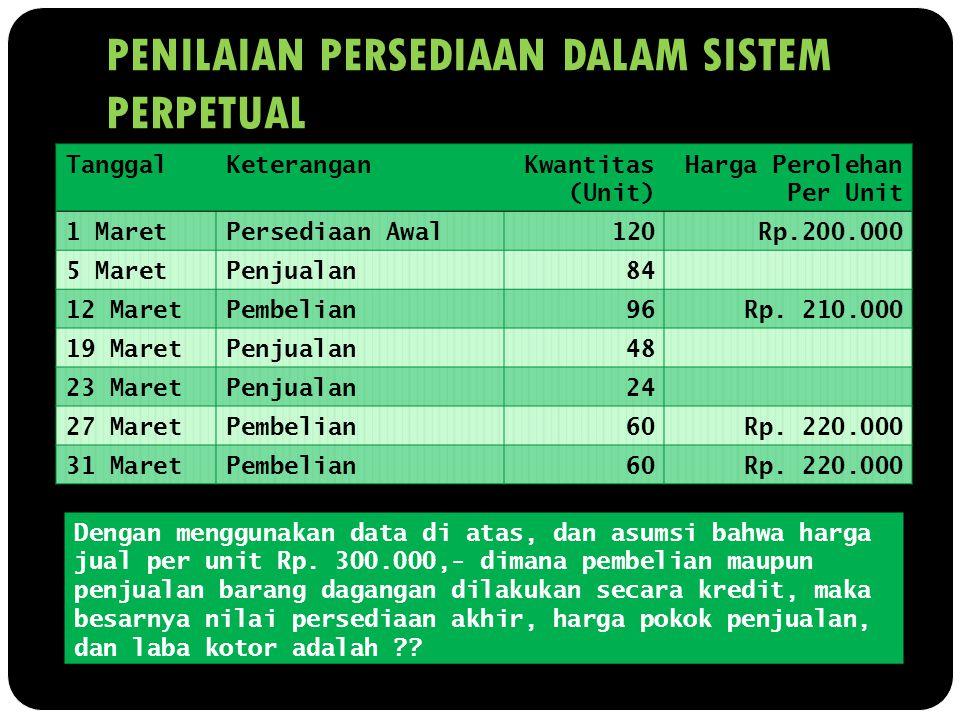 PENILAIAN PERSEDIAAN DALAM SISTEM PERPETUAL Dengan menggunakan data di atas, dan asumsi bahwa harga jual per unit Rp. 300.000,- dimana pembelian maupu