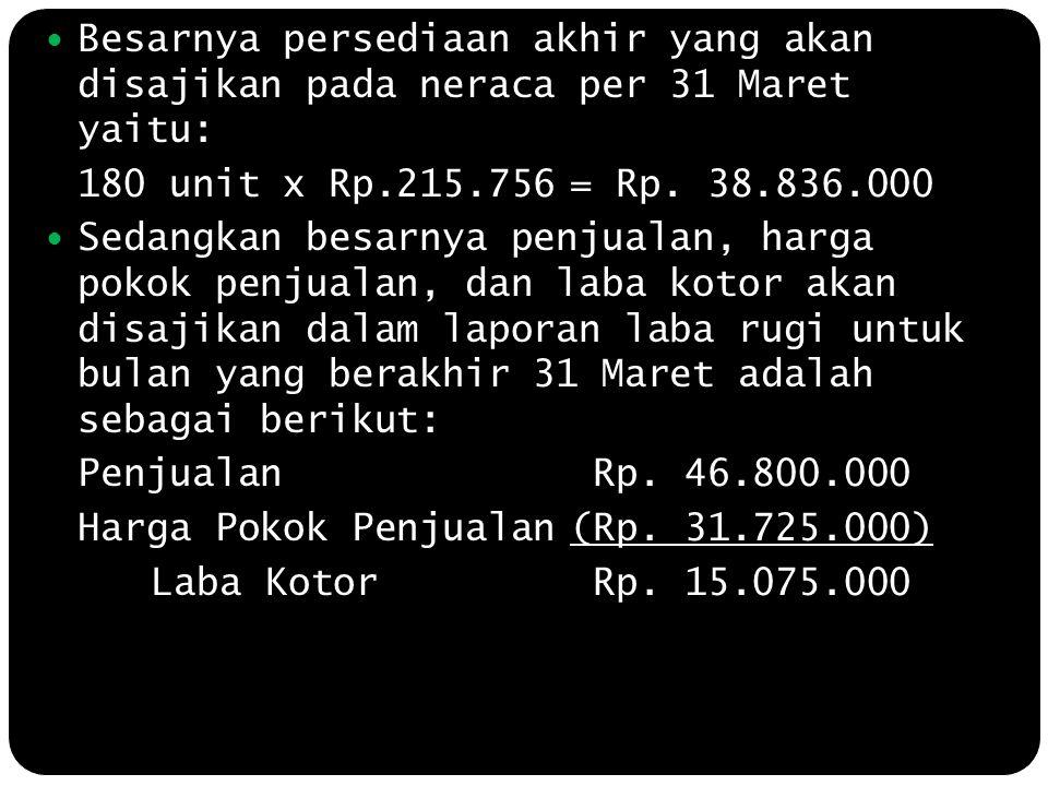 Besarnya persediaan akhir yang akan disajikan pada neraca per 31 Maret yaitu: 180 unit x Rp.215.756= Rp. 38.836.000 Sedangkan besarnya penjualan, harg