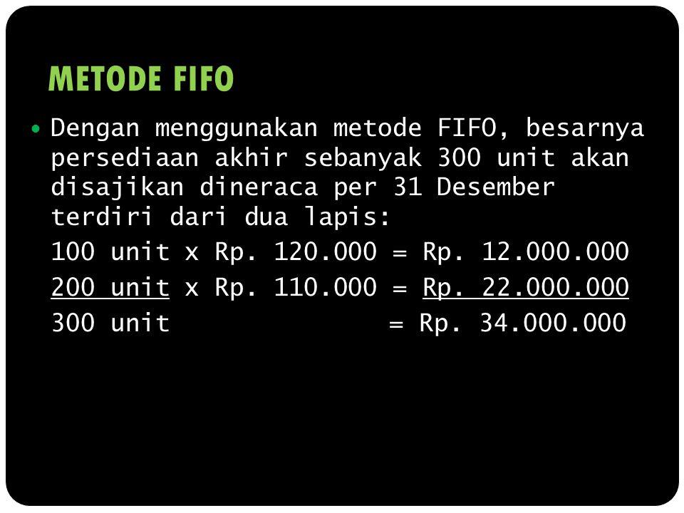 METODE FIFO Dengan menggunakan metode FIFO, besarnya persediaan akhir sebanyak 300 unit akan disajikan dineraca per 31 Desember terdiri dari dua lapis