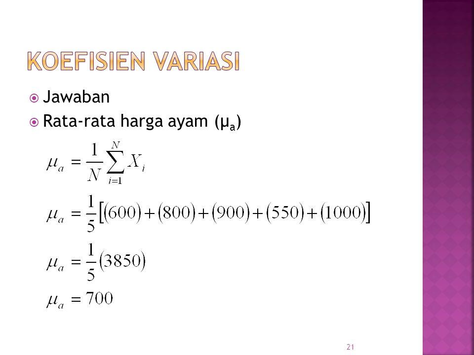 Jawaban  Rata-rata harga ayam (μ a ) 21