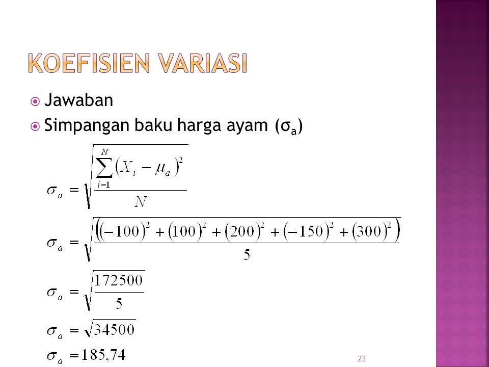  Jawaban  Simpangan baku harga ayam (σ a ) 23