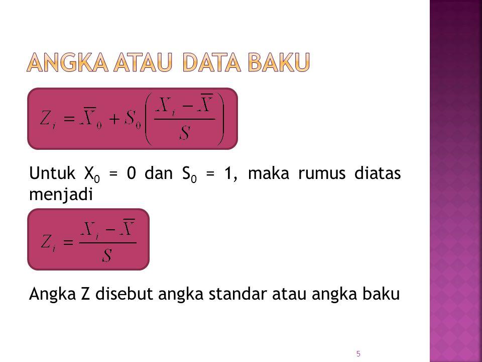 Untuk X 0 = 0 dan S 0 = 1, maka rumus diatas menjadi Angka Z disebut angka standar atau angka baku 5
