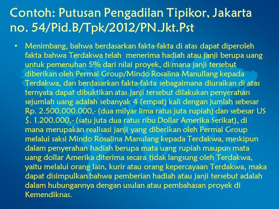 Contoh: Putusan Pengadilan Tipikor, Jakarta no. 54/Pid.B/Tpk/2012/PN.Jkt.Pst Menimbang, bahwa berdasarkan fakta-fakta di atas dapat diperoleh fakta ba