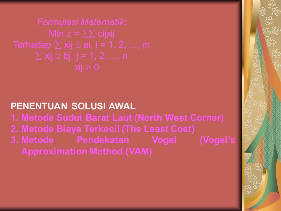 Formulasi Matematik: Min z =  cijxij Terhadap  xij  ai, i = 1, 2,..., m  xij  bj, j = 1, 2,..., n xij  0 PENENTUAN SOLUSI AWAL 1.Metode Sudut B