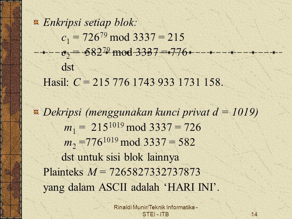Rinaldi Munir/Teknik Informatika - STEI - ITB14 Enkripsi setiap blok: c 1 = 726 79 mod 3337 = 215 c 2 = 582 79 mod 3337 = 776 dst Hasil: C = 215 776 1